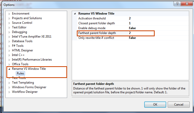 Rename VS Window Title options