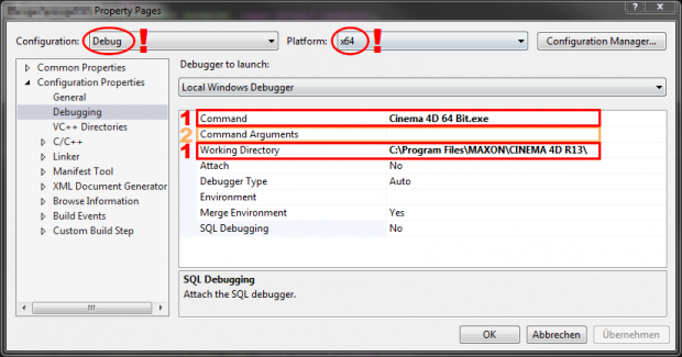 Debug options in VS2013