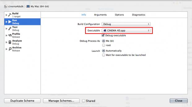 Xcode Scheme Settings - Info